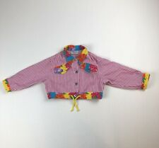 Girls Youth United Colors Of Benetton RETRO Floral Striped Denim Jacket Sz 12