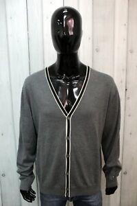 Cardigan Tommy Hilfiger Uomo Taglia 2XL Maglione Sweater Lana Logo Maglietta Man