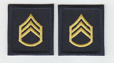 2 SSG Staff Sergeant GOLD on NAVY BLUE rank insignia collar/lapel patches