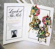 VINTAGE LUNCH AT THE RITZ EARRINGS/ORIGINAL CARD::CASTLE TINTAGEL. SIGNED.  RARE