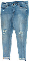 LANE BRYANT OUTLET Embroidered Distressed Skinny Ankle Jeans Mid Rise