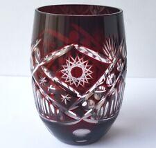 Wasser-/ Saft-/ Whisky- Glas Kristallglas Überfangglas Handschliff um 1900 M714