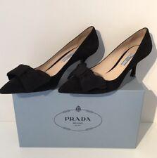 PRADA Ladies Calzature Camoscio Donna Black Suede Heels Sz UK 4.5 Eu 37.5