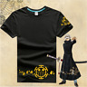 Anime One Piece T-Shirt Trafalgar Law Logo Shirt Monkey D Luffy Black Tee Top