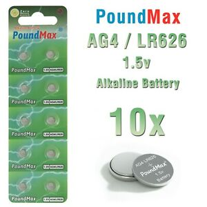 10 X AG4 Super 376/377 LR66 SR626 SR626SW 1.5v PoundMax ALKALINE BUTTON BATTERY