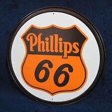 PHILLIPS 66 Gas - Round Metal Tin Sign - Man Cave Garage Bar Rec Game Rm Shop