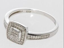 925 Sterling Silver Square Diamond Ring - .20TCW, Size 7.25