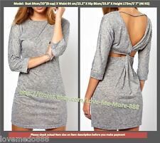 Womens loose style Cut-out knot back 3/4 sleeve MINI BODYCON dress GRAY SMALL