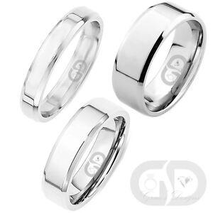 Stainless Steel Wedding Engagement Band High Polished Center Beveled Edges Ring