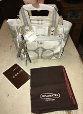 Coach Leatherware No. 9650 White & silver Mini Tote/Hand Bag  NWT $218