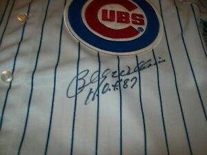 BILLY WILLIAMS HOF INSCRIBED SIGNED HOME PINSTRIPED JERSEY CHICAGO CUBS