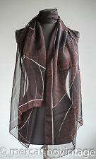 LAGERFELD sciarpa scialle in voile di seta marrone scuro brown silk scarf