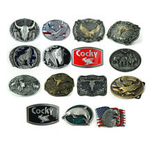 1PC Western Vintage Style Men's Leather Belt Buckle Metal 15 Kinds of Pattern
