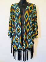 Fantastic Fawn Kimono Peacock Tassels Multi Color Womens Size Large