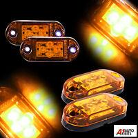 flexzon 10 Pcs Led Neon Side Perimeter Orange Marker 12v 24v Lights Lamps With Brackets NEW