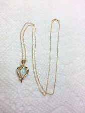 14K YELLOW GOLD PEARL OPAL HEART SHAPE PENDANT GENUINE DIAMOND NECKLACE 18-3/8''