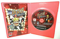 BUZZ THE HOLLYWOOD QUIZ SONY PLAYSTATION 2 VIDEO GAME DISC MANUAL CLEAR CASE PS2
