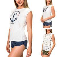 Hachiro Damen T-Shirt Kurzarmshirt Print Shirt Top Stretch Sommershirt SALE %