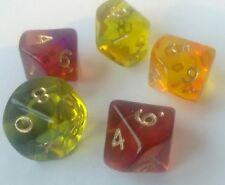 Gem blitz dice D10 assorted colours x5