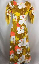 Reef Hawaii VTG Dress Full Length Fits S Small 60's 70's Hibiscus Bark Cloth Fab