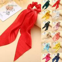 Women Elastic Ponytail Scarf Bow Hair Rope Ties Scrunchies Ribbon Band 2020 X9K9