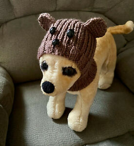 Pet Clothes Handmade Knit Outfit Teddy Bear Hoody Snow-Hat for Small Dog