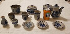 12 Vintage German Cobalt Blue Salt Glazed Pottery Stoneware Westerwald   Lot3
