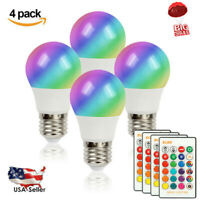 4X E27 RGB LED Light Bulb 16Color Changing Remote Controlled Dimmable Globe Lamp