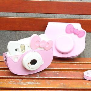 Cartoon Leather Camera Case Bag For Fujifilm Instax mini Hello Kitty 40 Years