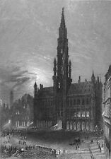 BELGIUM - BRUSSELS : THE TOWN HALL - Engraving from 19th century