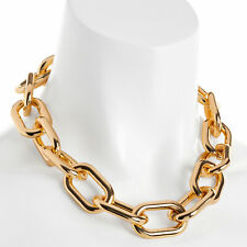 Gold colour chunky large oval lightweight choker necklace fashion jewellery