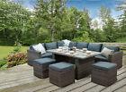 'casa' Rattan Garden Furniture Grey Rattan Corner Sofa Outdoor Dining Table Set