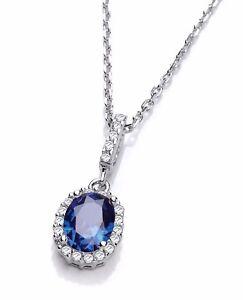 J JAZ STELLA Sterling Silver Blue Oval Cubic Zirconia Pendant Necklace