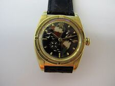 ROLEX VINTAGE OYSTER PERPETUAL 18K GOLD BLACK CLOISONNE DIAL OF THE AMERICAS !!
