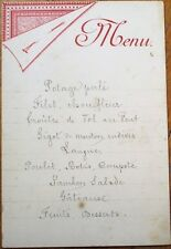 Menu: 1900 French Handwritten - Croute de Vol au Vent, Jambon Salade