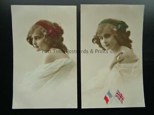 British & French Flags 2 x PORTRAIT OF YOUNG GIRL WITH BOWS c1910 RP Postcard