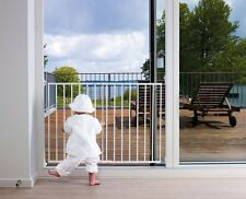 Extending Safety Gate Baby Toddler Walk Adjustable Width Stairs Doors Dog White