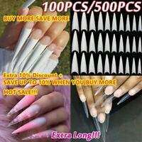 Extra Long Stiletto False Nail Tips Acrylic Gel Salon Half Cover Tip Nail Art