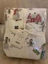 Pottery Barn Snowman Flannel Cotton Sheet Set King Winter Christmas 🎄Holiday �