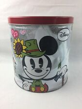 "Mickey Minnie Mouse Yodelberg Tin Container Disney 9.25"" H  Snow Heart Yodel"