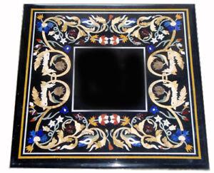"24"" Black MarbleTable Top Pietra Dura Home And Garden Decor Inlay Work"