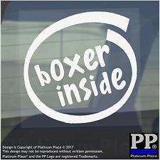 1 x BOXER all'interno-Finestra, Auto, Furgone, STICKER, SEGNO, Adesivo, Cane, Pet, su, Board, piombo, Ciotola