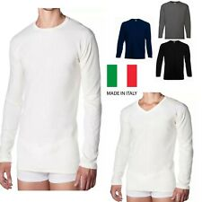 2 maglia intima uomo 100% caldo cotone manica lunga girocollo o scollo punta