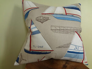 SALE Decorative Pillow Cover Blue Red Beige Off White Sailing Boat Graphic