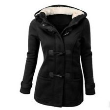 Women's Slim Long Coat Winter Warm Buckle Jacket Outwear Parka Hooded Trench