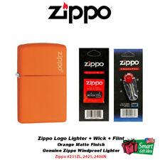 Zippo Logo Orange Matte Lighter + (1) Wick + (1) Flint Set #231ZL_2425_2406N