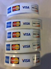 """5 Credit CARD DECAL STICKER 31/4"""" X 3/4"""" Visa MasterCard Discover American Exp"""