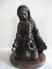 """Vintage Italian Madonna And Child Handcarved Wooden Statue Figurine, 12"""" Tall"""