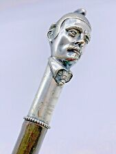 New listing Antique Unique Cane Figural Walking Stick, Mustached Man Wearing Helmet Knobby