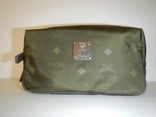 MCM Green Signature Monogram Canvas Pouch Travel or Cosmetic Bag NWT